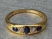 Antique 1904 18ct Gold Cornflower Blue Sapphires Diamonds Ring - 117 Years Old