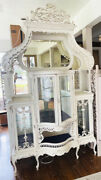 England Antique Tall White Carved Wood Curve Glass Curio Cupboard Ornate Cabinet