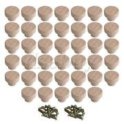 40 Pieces Wood Color Wooden Furniture Pull Knobs For Drawer Cabinet 35x25mm