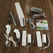 Nintendo Wii System Console Bundle 2 Oem Remotes And Nunchuks W/ Wii Sports Game