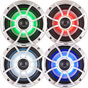 Wet Sounds Bundle 2 Pair Xs 65i Series Silver Grill 6.5 Speakers With Rgb Led