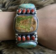 Navajo Sterling Silver Royston Turquoise Coral Bracelet Signed