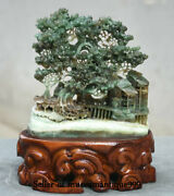 8 Exquisite Natural Dushan Green Jade Master Carving Old Man House Tree Statue