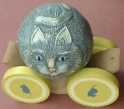 Vintage 1988 Briere Studio Wood Wooden Pull Toy Folk Art Numbered Roly Poly Cat