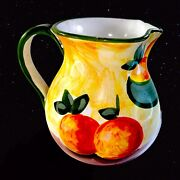"""The Cellar Colorful Italian Hand-painted Pottery Pitcher Fruit 8""""t"""