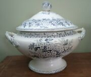 Antiquevictorian Soup Tureen C.1860 Planter Or Jardiniere Floral