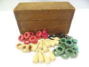 Vintage Used Old Wood Wooden Finger Joint Construction Ring Toss Childrens Toys