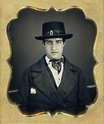 Very Handsome Young Man Wearing Top Hat With Buckle 1/6 Plate Daguerreotype F135
