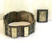 Antique Chinese Etched Panel Filigree Bracelet And Pin 2pc Set