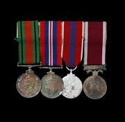 Mounted Group Of Four Miniature Medals, Defence, War, Coronation, Lsgc