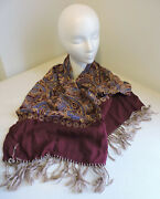 Vintage And039style By Currie Fringed Dress Scarf Burgundy/blue/gold 3andrdquofringe