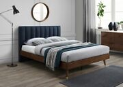 Eastern King Size Bed Bedroom Furniture Soft Navy Fabric Wood Legs W/gold Caps