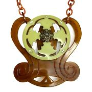 Tortoise Shell And Light Green Lucite Statement Necklace W/ Celluloid Chain