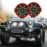 2pcs 7inch 51w Led Work Light Spot Beam Offroad Truck Round Fog Driving Lamp Red