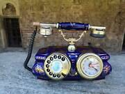 Vintage Porcelain Blue Telephone With Clock, Massive Table Retro Rotary Phone