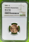 2000 1c Cheerios Promotion Lincoln Memorial Cent Ngc Ms67 450 Price Guide 023