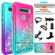 For Lg V40/thinq Rubber Hard Liquid Glitter Bling Phone Case Cover W/accessories