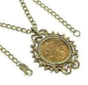 Unisex Ornately Mounted 22ct Gold George V Sovereign Hung On A 9ct Curb Chain
