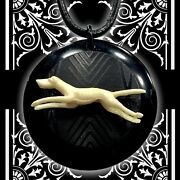 Art Deco Celluloid Greyhound Necklace On Leather Cord