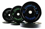 Everyday Essentials Color Coded Olympic Bumper Plate Weight Black Set 160 Lbs