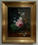 Fine 18th Century Bouquet Flowers Rose And Butterfly Dutch School