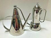 2 Piece Art Deco Mcm Style Espresso Makers Set Italy Stainless Stove Top