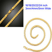 18k Yellow Gold Filled 16 -24 Diamond-cut Miami Cuban Link Chain Necklace R801