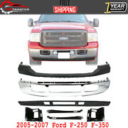 Front Bumper Chrome + Upper + Valance + Brackets For 2005-2007 Ford F-250 F-350