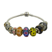 Pandora 925 Sterling Silver Bracelet With Colored Variety Charms
