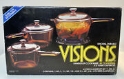 Corning Visions 6 Piece Saucepan Set With Lids New In Box - Pyrex