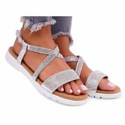 Womenand039s Lu Boo Sandals With Cubic Zirconia 406-5 Silver Stella Grey