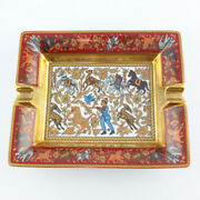 Pre-owned Authentic Hermes Ashtray Indian Hunting Animal Red Gold Box