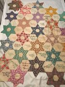 1936 Antique Hand Stitched Signature Friendship Unfinished Top And Quilt Blocks
