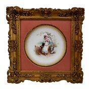 Minton Plate In Italianate Gilt Frame Girl In The Fields A. Boullemier 1882