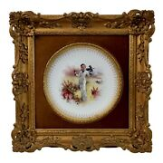Minton Plate In Italianate Gilt Frame Lady In Dune Landscape A.boullemier 1882
