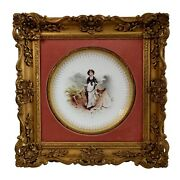 Minton Plate In Italianate Gilt Frame Lady And Dog On Moor A.boullemier 1882
