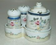 Salt And Pepper Shakers And Condiment W/ Spoon Flower Floral Pattern Occupied Japan