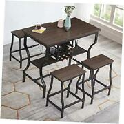 4-piece Dining Room Table Set Counter Height Pub Table Set With Wine Storage