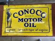 Conoco Porcelain Sign Gas And Oil Chevrolet And Ford