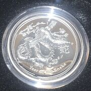 2013 Australian Lunar Year Of The Snake High Relief 1 Oz .999 Silver Coin W/ Ogp