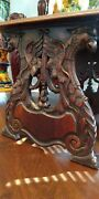 Rare Antique Carved Eagles Eagle Ornate Scroll Wooden Wood End Table Bench