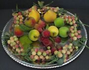 Christmas Wreath Beaded Sugared Frosted Faux Mixed Fruit Ornaments Picks 13 Pcs