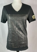 Guess Womens T-shirt Black With Faux Leather Front Letters Nyc Calif La Small