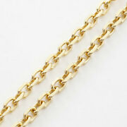 18k Solid Yellow Gold 20g 3.3mm-w. 4-sided Cut Cable Chain Necklace 23.5 Unisex
