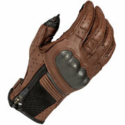 Klim Induction Perforated Leather Vented Motorcycle Goatskin Gloves Brown