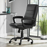 Office Chair Leather Black Comfort Stylish Rolling Wheels Perfect For Manager