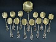 Puiforcat French Sterling Silver And Gilt Ice Cream Set Spoons