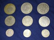 Lot Of 9 Great Britain Coins 1948-67, Half Crown Shilling Sixpence - Circulated