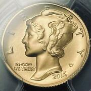 2016 American Mercury Dime 100th Anniversary Dime Pcgs Sp70 First Day Of Issue