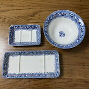Antique French Boston White Blue Transferware Bowl And Dishes Vintage 1900s